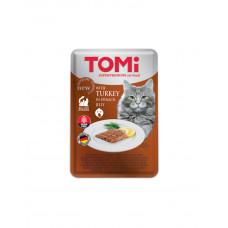 TOMi TURKEY in spinach jelly Консерва для дорослих котів з індичкою в шпинатному желе фото