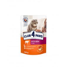 Клуб 4 лапы Premium для взрослых котов с говядиной в желе фото