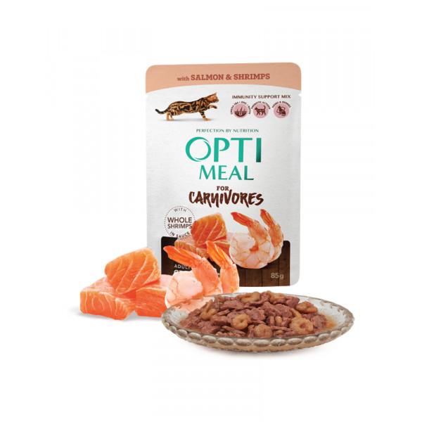 OptiMeal Беззерновой влажный корм для взрослых кошек с лососем и креветками в соусе фото