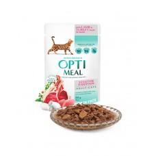 OptiMeal Беззерновой влажный корм для взрослых кошек с чувствительным пищеварением с ягненком и филе индейки в соусе фото