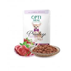 OptiMeal Влажный корм для взрослых собак малых пород c ягненком и шпинатом в соусе фото