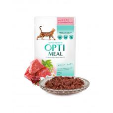 OptiMeal Влажный корм для взрослых кошек с телятиной в клюквенном соусе фото
