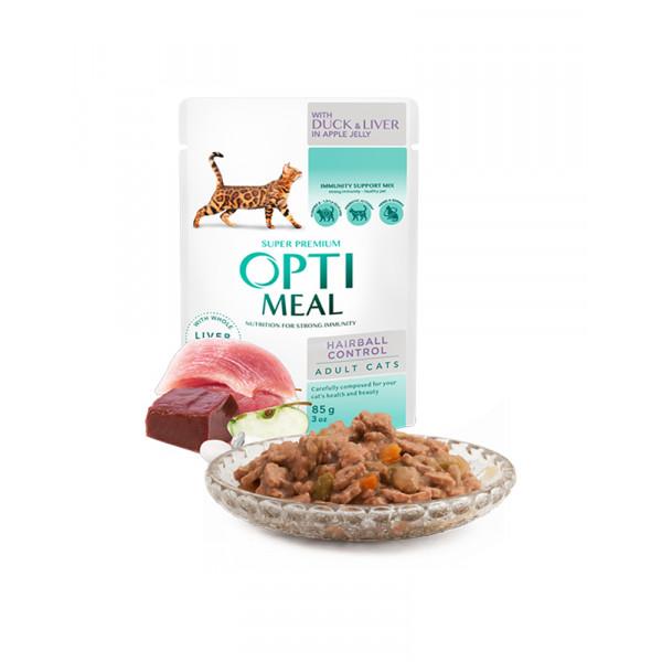 OptiMeal Влажный корм для взрослых кошек с эффектом выведения шерсти, с уткой в яблочном в желе фото
