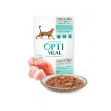 OptiMeal Влажный корм для стерилизованных кошек и кастрированных котов с индейкой и куриным филе в соусе фото