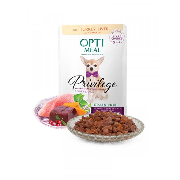 OptiMeal Беззерновий вологий корм для дорослих собак малих порід c індичкою і печінкою в гарбузовому желе фото