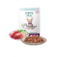 OptiMeal Беззерновой влажный корм для щенков с телятиной и куриным филе в соусе фото