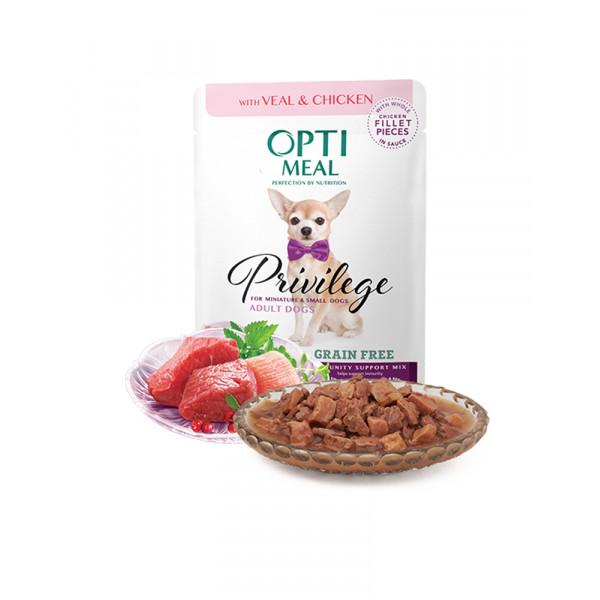 OptiMeal Беззерновой влажный корм для взрослых собак малых пород c телятиной и куриным филе в соусе фото