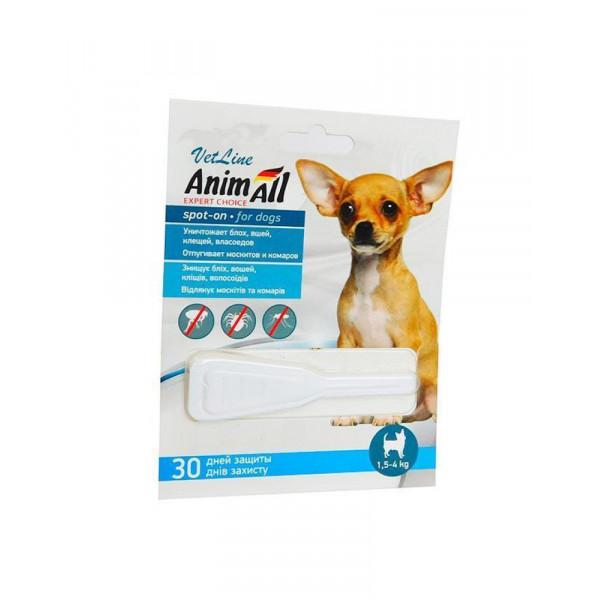 AnimAll VetLine Spot-On краплі від бліх та кліщів для собак, вага 1.5-4 кг фото
