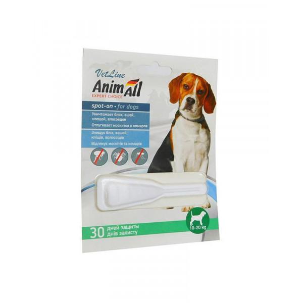 AnimAll VetLine Spot-On краплі на холку від бліх і кліщів для собак 10-20 кг (4.0 мл) фото