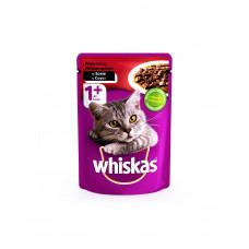 Whiskas С говядиной в соусе для взрослых кошек фото
