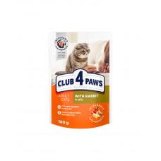 Клуб 4 лапи Premium для дорослих котів з кроликом в желе фото