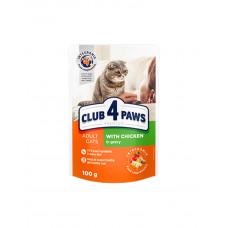Клуб 4 лапи Premium для дорослих котів з куркою в соусі фото