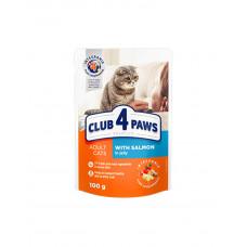Клуб 4 лапи Premium для дорослих котів з лососем в желе фото
