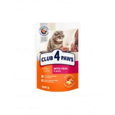 Клуб 4 лапи Premium для дорослих котів з телятиною в соусі фото