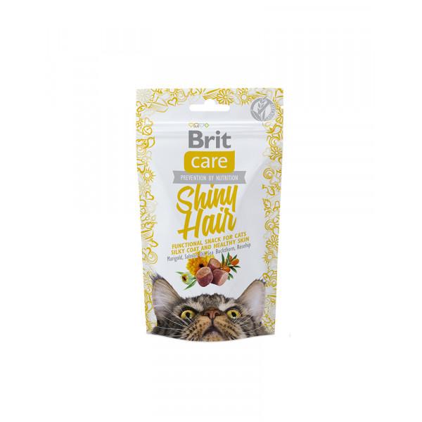 Brit Care Cat Snack Shiny Hair Для підтримки краси шерсті кішок з лососем фото