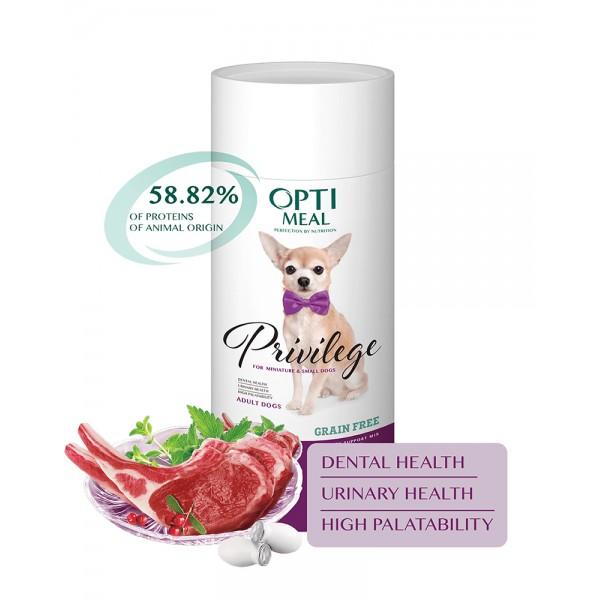 OptiMeal Беззерновой корм для взрослых собак миниатюрных и малых пород с высоким содержанием ягненка фото